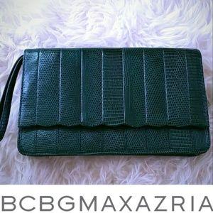 BCBG green leather clutch wristlette NWT